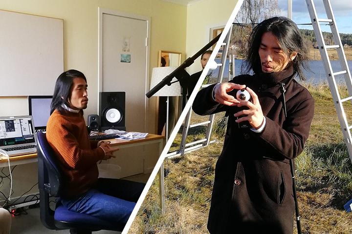 Ryo har svart hår och en smal kroppsbyggnad. Bilden visar honom i studion och ute på fältet