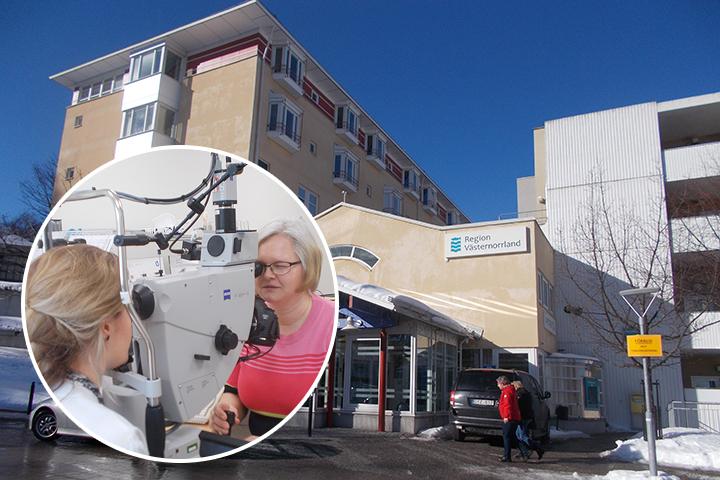 Öviks sjukhus i bakgrunden och i den lilla bilder fotograferar Elisabeth ögonbotten på en patient