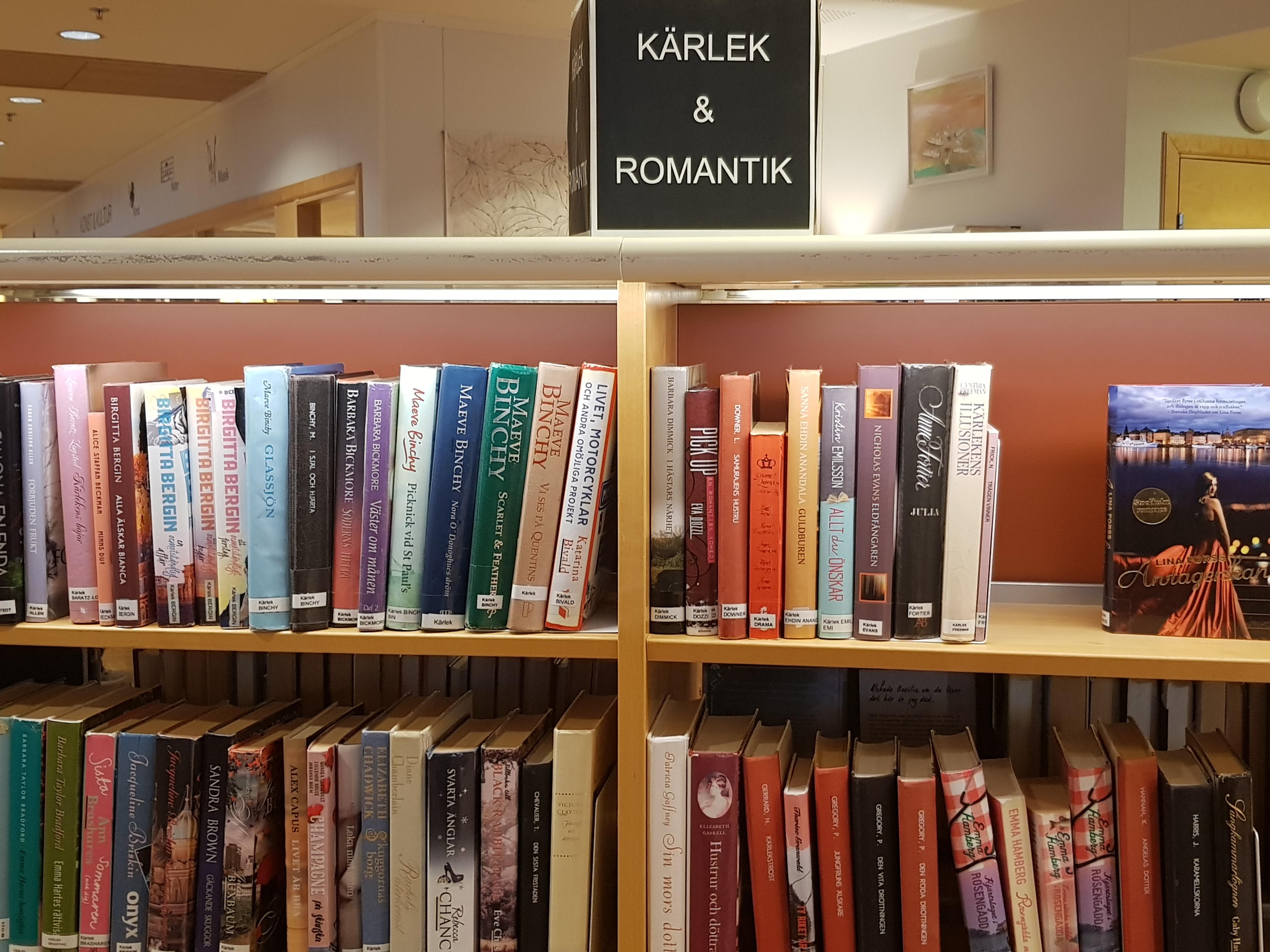 En bokhylla med böcker på biblioteket