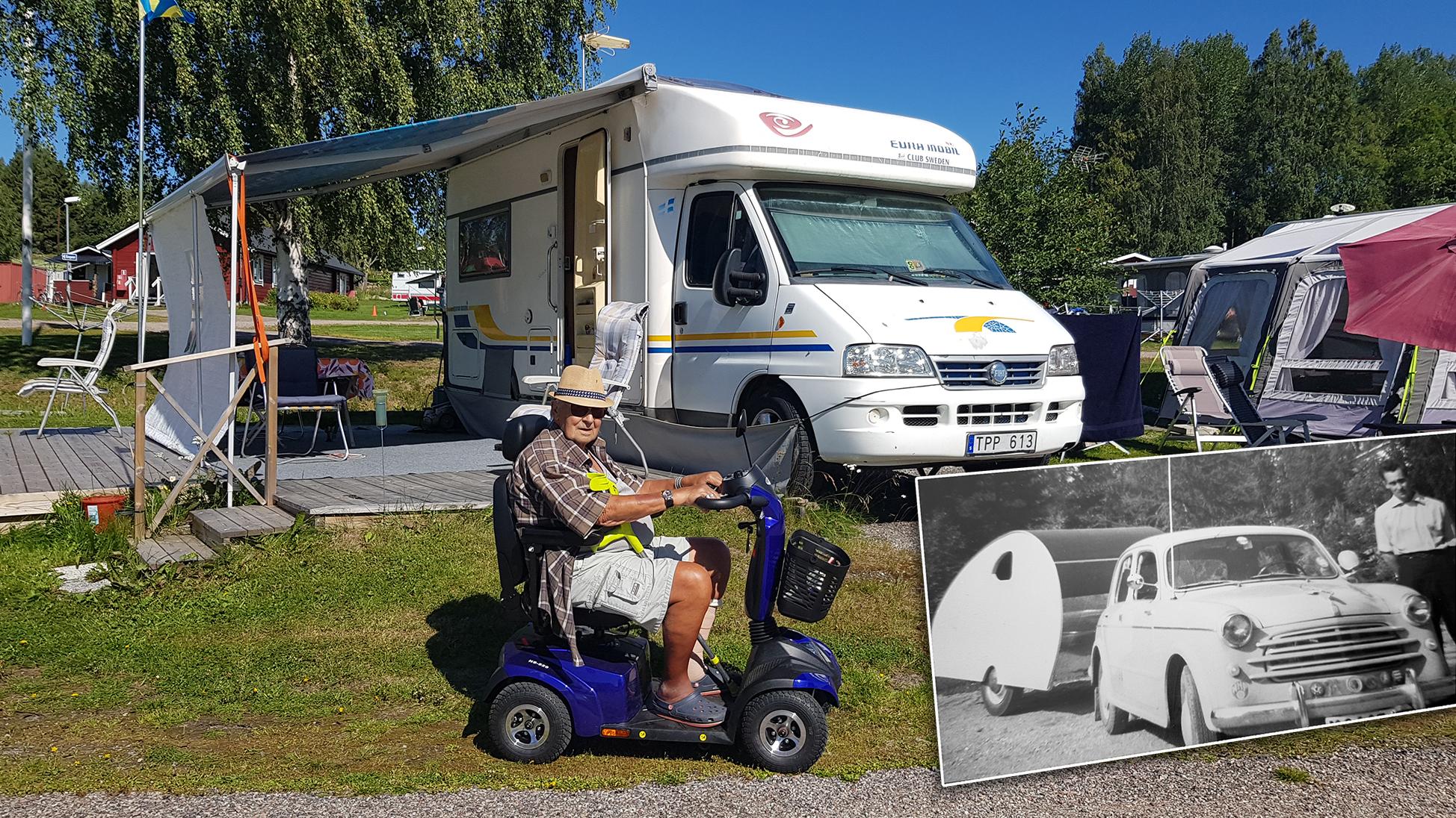 Mixad bild med Uno på promenadskotern, husbilen i bakgrunden och den hemmabygda husvagnen i en infälld svartvit bild.