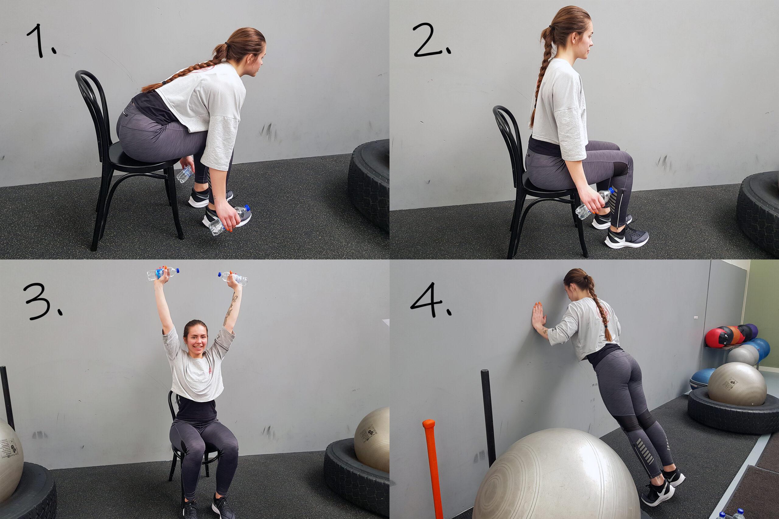 Erica sitter på en stol och gör fyra olika övningar