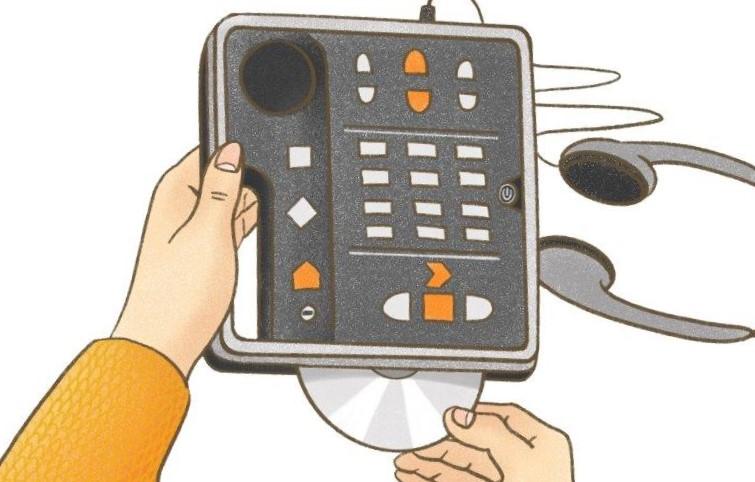 En tecknad bild där en hand försöker sätta in en daisyskiva i en spelare