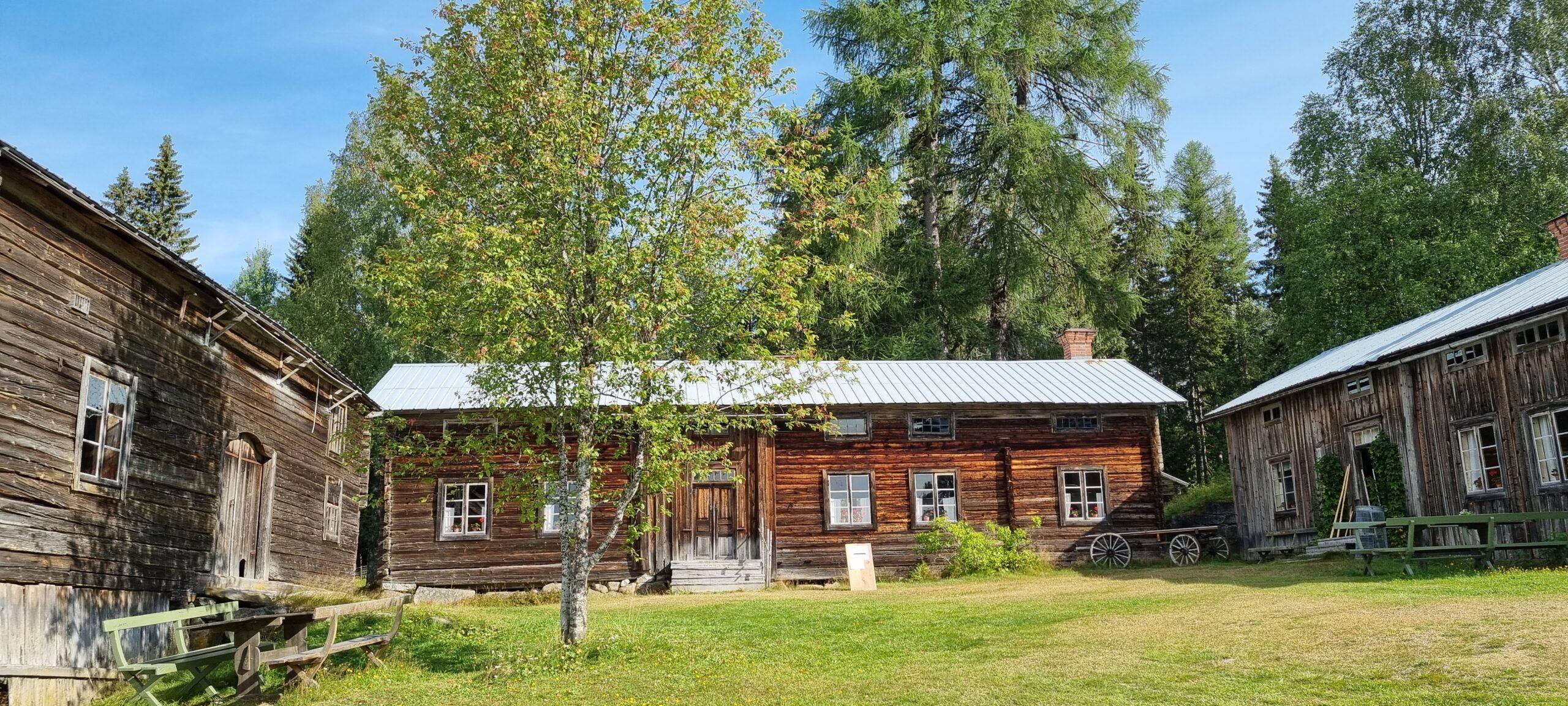 Bilden är tagen på gårdstunet som omges av tre träbyggnader från 1800-talet