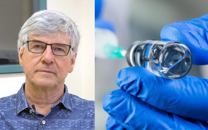 Mixad bild av Hans Boman och en vaccinationsspruta