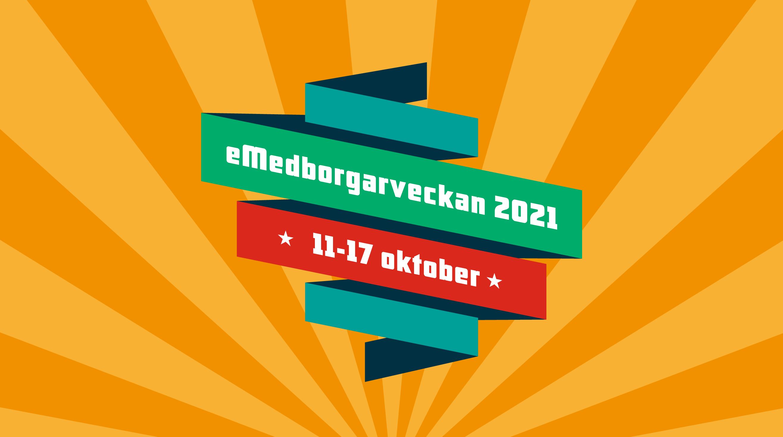 Loggan för e-medborgarveckan med skyltar i olika färger staplad på varandra